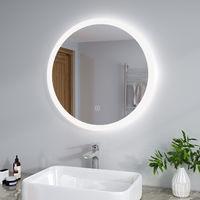 ELEGANT 700 x 700 mm Modern Round Illuminated LED Bathroom Mirror Touch Sensor + Demister