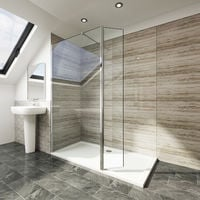 Elegant 700mm Walk in Shower Screen Tougheded Safety Wet Room with 300mm Flipper Panel