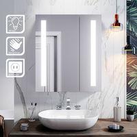 ELEGANT Illuminated Bathroom Mirror Cabinet with Light + Shaver Socket Wall Mounted LED Mirror with Shelf 600mm