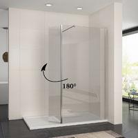 ELEGANT 1000mm Frameless Wet Room Shower Screen Panel 8mm Easy Clean Glass Walk in Shower Enclosure with 300mm Return Panel