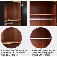 2 Door Double Wardrobe Storage with Hanging Rail Shelf Bedroom Furniture