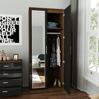 ELEGANT Soft Close 2 Doors Wardrobe with Mirror and Metal Handles Includes a removable hanging rod and storage shelves High Gloss, Black/Walnut
