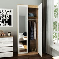 ELEGANT Soft Close 2 Doors Wardrobe with Mirror and Metal Handles Includes a removable hanging rod and storage shelves High Gloss, White/Oak
