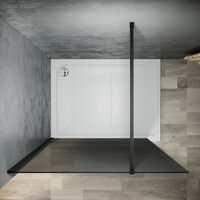 ELEGANT 1100mm Walkin Shower Enclosure Bathroom 8mm Grey Safety Easy Clean Glass for Bath Wetroom Walk in Shower Cubicle Screen Panels + Black Stainless Steel Support Bars