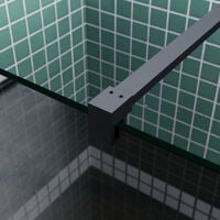 ELEGANT Bathroom Walkin Shower Door Wet Room Enclosure Screen 8mm Easy Clean Safety Glass Bath Panel Grey,700mm,Black Support Bar