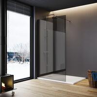 ELEGANT Walkin Shower Screen Wet Room 8mm Easy Clean Safety Glass Bath Panel Grey,700mm,Black Support Bar