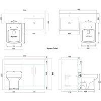 ELEGANT 1100mm L Shape Bathroom Vanity Sink Unit Furniture Storage,Left Hand High Gloss White Vanity unit + Basin + Ceramic Square Toilet with Concealed Cistern