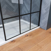 ELEGANT 800mm Walk in Shower Door Wet Room, Reversible Shower Screen Panel 8mm Safety Glass, Matte Black Walkin Shower Enclosure Cubicle with 1100x900mm Shower Tray