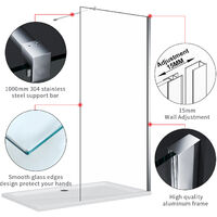 ELEGANT 900mm Frameless Wet Room Shower Screen Panel, 900mm Side panel, Walk in Shower Enclosure with Support Bar, 8mm Easy Clean Glass, 1900mm Height