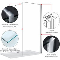ELEGANT 700mm Frameless Wet Room Shower Screen Panel, 700mm Side panel, Walk in Shower Enclosure with Support Bar, 8mm Easy Clean Glass, 1900mm Height