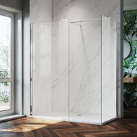 ELEGANT 1200mm Frameless Wet Room Shower Screen Panel, 800mm Side panel, Walk in Shower Enclosure with Support Bar, 8mm Easy Clean Glass, 1900mm Height
