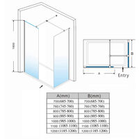 ELEGANT 1000mm Frameless Wet Room Shower Screen Panel, 800mm Side panel, Walk in Shower Enclosure with Support Bar, 8mm Easy Clean Glass, 1900mm Height