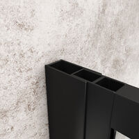 ELEGANT Black 760mm Walk in Shower Screen + 1200x800mm Anti-Slip Resin Shower Tray, 8mm Safety Tempered Glass Bathroom Open Entry Shower Screen
