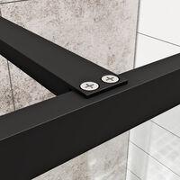 ELEGANT Black 760mm Walk in Shower Screen + 1400x800mm Anti-Slip Resin Shower Tray, 8mm Safety Tempered Glass Bathroom Open Entry Shower Screen