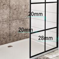 ELEGANT Black 800mm Walk in Shower Screen + 1400x800mm Anti-Slip Resin Shower Tray, 8mm Safety Tempered Glass Bathroom Open Entry Shower Screen