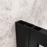 ELEGANT Black 900mm Walk in Shower Screen + 1200x900mm Anti-Slip Resin Shower Tray, 8mm Safety Tempered Glass Bathroom Open Entry Shower Screen