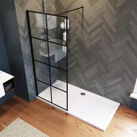 ELEGANT 800mm Walk in Shower Door Wet Room, Reversible Shower Screen Panel 8mm Safety Glass, Matte Black Walkin Shower Enclosure Cubicle with 1400x760mm Shower Tray