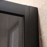 ELEGANT Black Shower Enclosure Sliding 1000 x 800 mm Bathroom 8mm Nano Glass Shower Enclosure Easy Clean with 800mm Side Panel + Anti-Slip Shower Tray and Waste