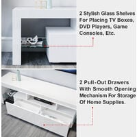 ELEGANT White TV Unit High Gloss TV Cabinet Stand 1600mm with LED Lights TV Unit with Storage TV Stand Television Unit