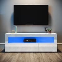 ELEGANT White TV Unit High Gloss TV Cabinet Stand 1200mm with LED Lights TV Unit with Storage TV Stand