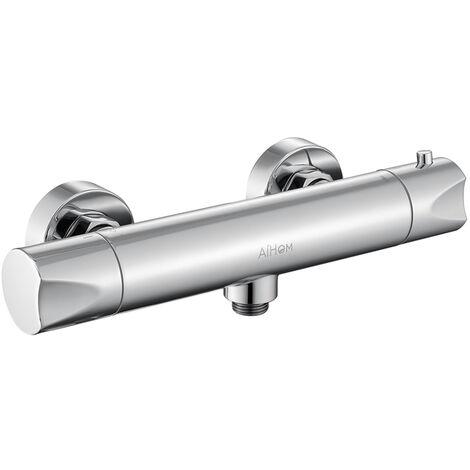 Grifo termostático ducha con el Botón de Seguridad 38℃ termostato de ducha Plateado Griferia Termostatica Ducha con cromo