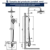 HOMELODY 40 ℃ Termostatica Columna de Ducha 2 Funciones Ducha Barra Ajustable Conjunto de Ducha Ducha de Mano 3 tipos de chorro Plateada Ducha de Lluvia Redondo para Guarto de baño