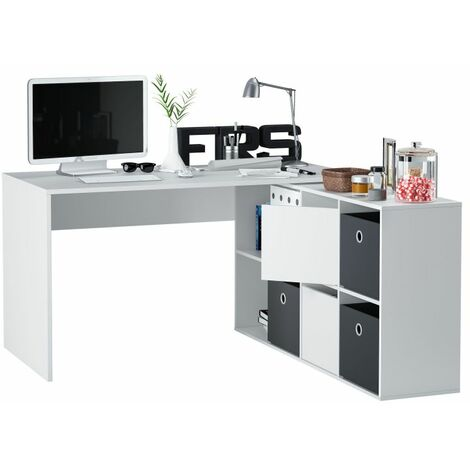Mesa escritorio Adapta XLBlanco Artik (Blanco Mate) - Gris Cemento
