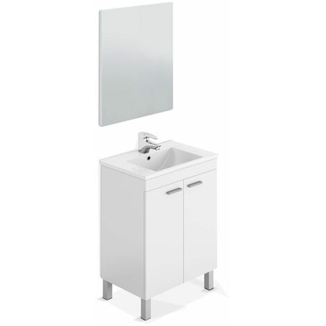 Mueble de baño con espejo LC1 60 2 puertasBlanco Brillo