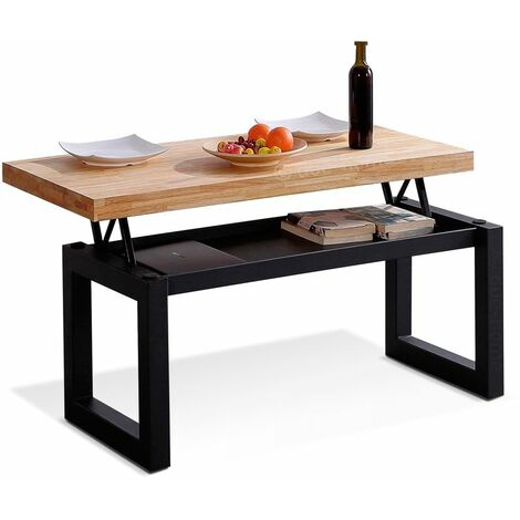 Mesa de centro elevable LoftRoble salvaje-negro
