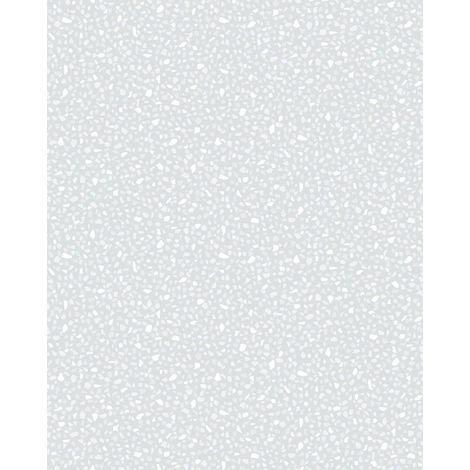 Empapelado aspecto piedra azulejos Profhome VD219121-DI papel pintado vinílico estampado en caliente tejido non tejido gofrado unicolor y efecto nacarado blanco 5,33 m2