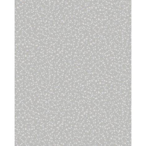 Empapelado aspecto piedra azulejos Profhome VD219122-DI papel pintado vinílico estampado en caliente tejido non tejido gofrado unicolor y efecto nacarado plata 5,33 m2