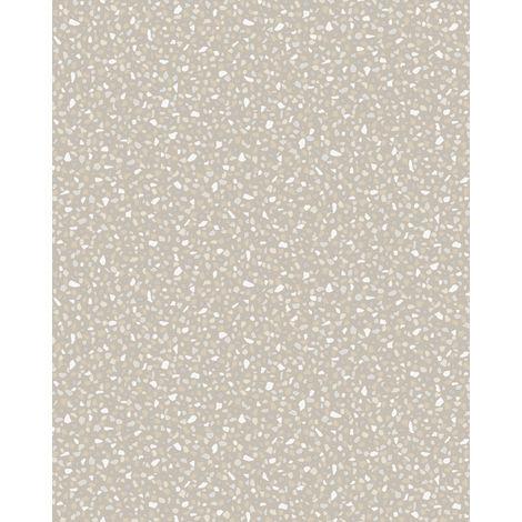 Empapelado aspecto piedra azulejos Profhome VD219125-DI papel pintado vinílico estampado en caliente tejido non tejido gofrado unicolor y efecto nacarado platino 5,33 m2