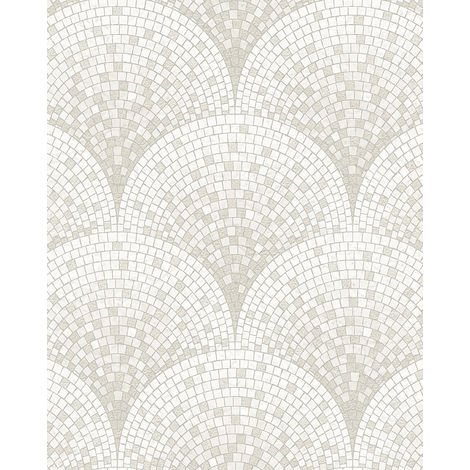 Empapelado aspecto piedra azulejos Profhome BA220041-DI papel pintado vinílico estampado en caliente tejido non tejido gofrado con dibujo tipo azulejos sutilmente satinado blanco blanco-crema 5,33 m2