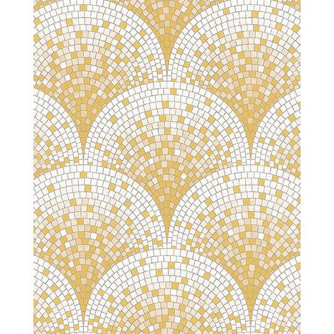 Empapelado aspecto piedra azulejos Profhome BA220042-DI papel pintado vinílico estampado en caliente tejido non tejido gofrado con dibujo tipo azulejos brillante oro blanco beige 5,33 m2