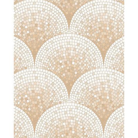 Empapelado aspecto piedra azulejos Profhome BA220043-DI papel pintado vinílico estampado en caliente tejido non tejido gofrado con dibujo tipo azulejos brillante beige blanco 5,33 m2