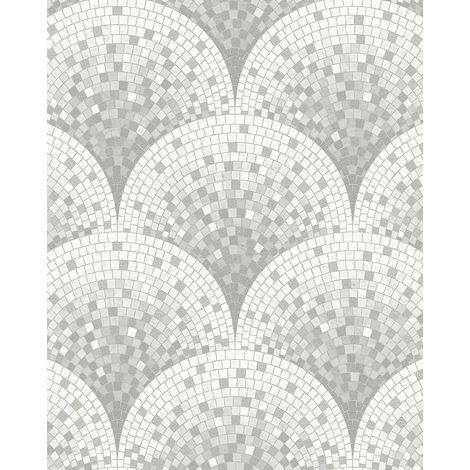 Empapelado aspecto piedra azulejos Profhome BA220044-DI papel pintado vinílico estampado en caliente tejido non tejido gofrado con dibujo tipo azulejos brillante gris blanco gris ágata 5,33 m2