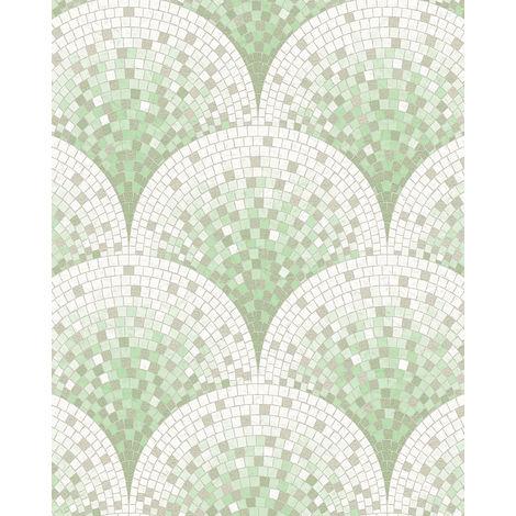 Empapelado aspecto piedra azulejos Profhome BA220045-DI papel pintado vinílico estampado en caliente tejido non tejido oro con dibujo tipo azulejos brillante verde blanco turquesa pastel beige agrisado 5,33 m2