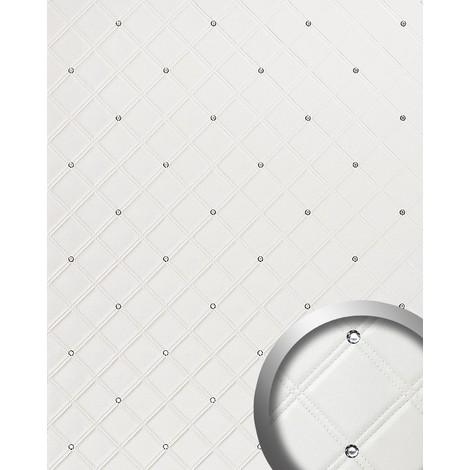 Revestimiento mural Estilo Cuero Cristales de Vidrio WallFace 15044 CRISTAL ROMBO Panel autoadhesivo blanco 2,60 m2