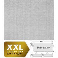 Papel pintado XXL tejido no tejido blanco pintable EDEM 80301BR60 con textura de lino para pintar y renovar 26,50 m2