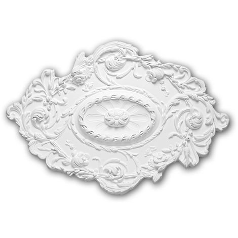 Ceiling Rose 156029 Profhome Ceiling Decoration Medallion Rosette Decorative Element Rococo Baroque style white 76.7 x 53.2 cm
