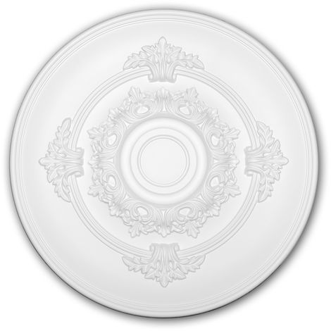 Ceiling Rose 156049 Profhome Ceiling Decoration Medallion Rosette Decorative Element Neo-Empire style white Ø 34.6 cm