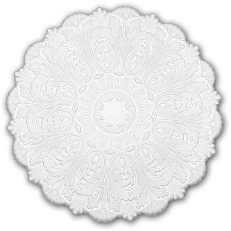 Ceiling Rose 156055 Profhome Ceiling Decoration Medallion Rosette Decorative Element Rococo Baroque style white Ø 75.2 cm