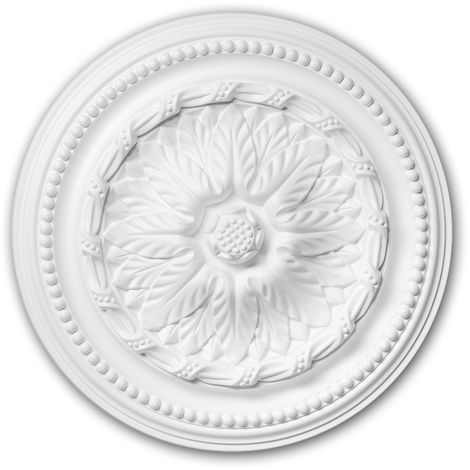 Ceiling Rose 156007 Profhome Ceiling Decoration Medallion Rosette Decorative Element Neo-Empire style white Ø 40 cm