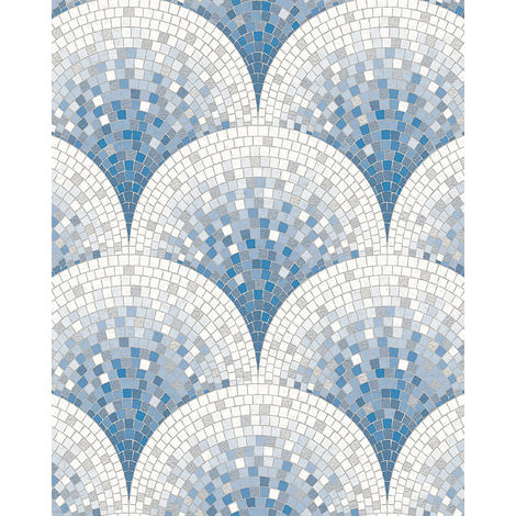 Stone tile wallpaper wall Profhome BA220046-DI hot embossed non-woven wallpaper embossed with tile pattern shiny blue white pigeon blue 5.33 m2 (57 ft2)