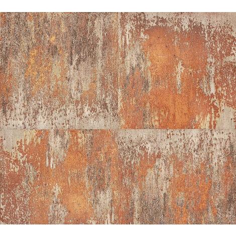 Retro wallpaper wall Profhome 361182-GU non-woven wallpaper smooth retro style matt orange brown 5.33 m2 (57 ft2)