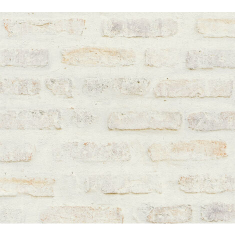 Stone tile wallpaper wall Profhome 374221-GU non-woven wallpaper smooth with nature-inspired pattern matt white grey red 5.33 m2 (57 ft2)