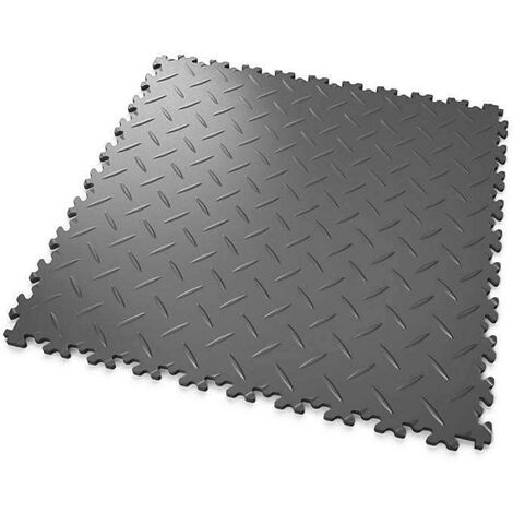 """DALLES MOSAIK PVC Anthracite - GARAGE, ATELIER - Épaisseur 7mm """"Surface Tôle Larmée"""""""