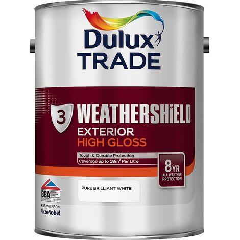 Dulux Trade Weathershield Gloss Pure Brilliant White 5L