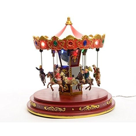 LIght Up LED Christmas Decoration - Up and Down Carousel - 25cm