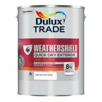 Dulux Trade Weathershield Quick Dry Pure Brilliant White 5L